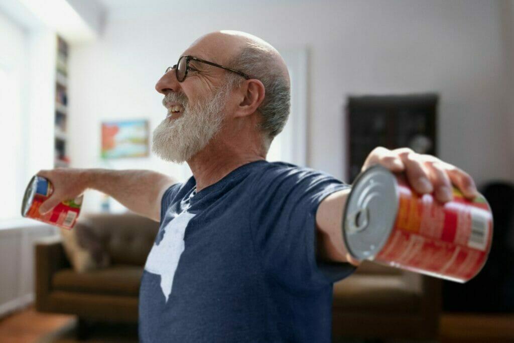 Senior man exercising in COVID-19 lockdown