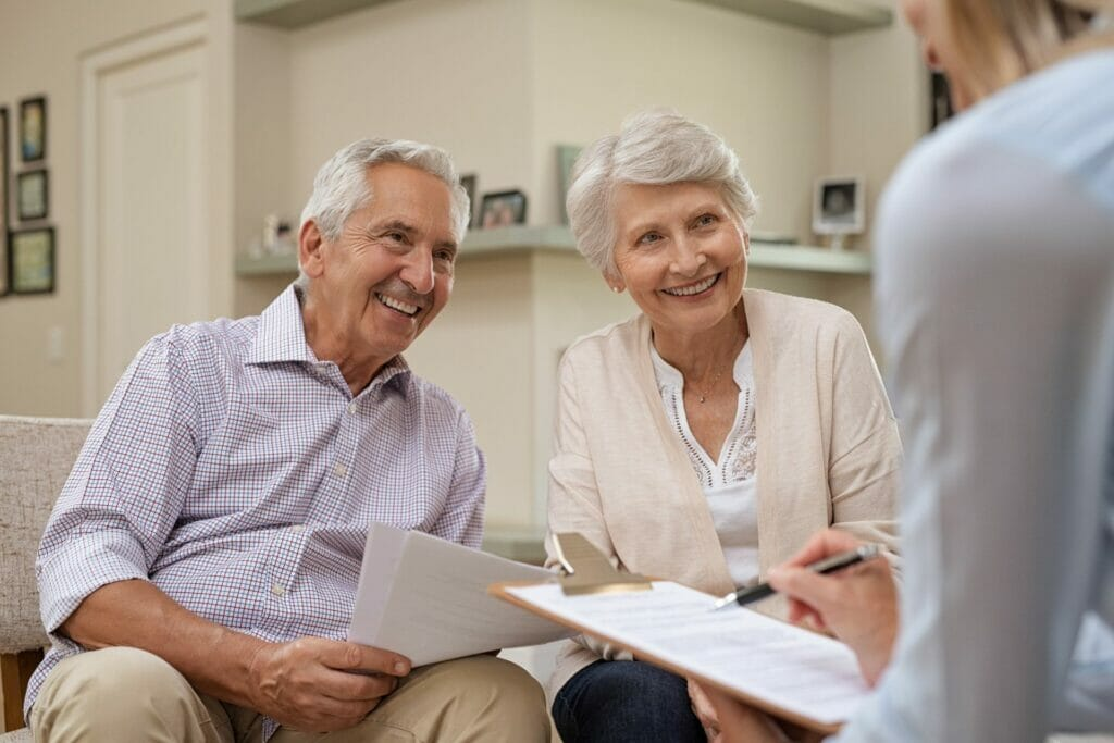 Seniors meeting Ottawa Retirement Living Guide for consultation