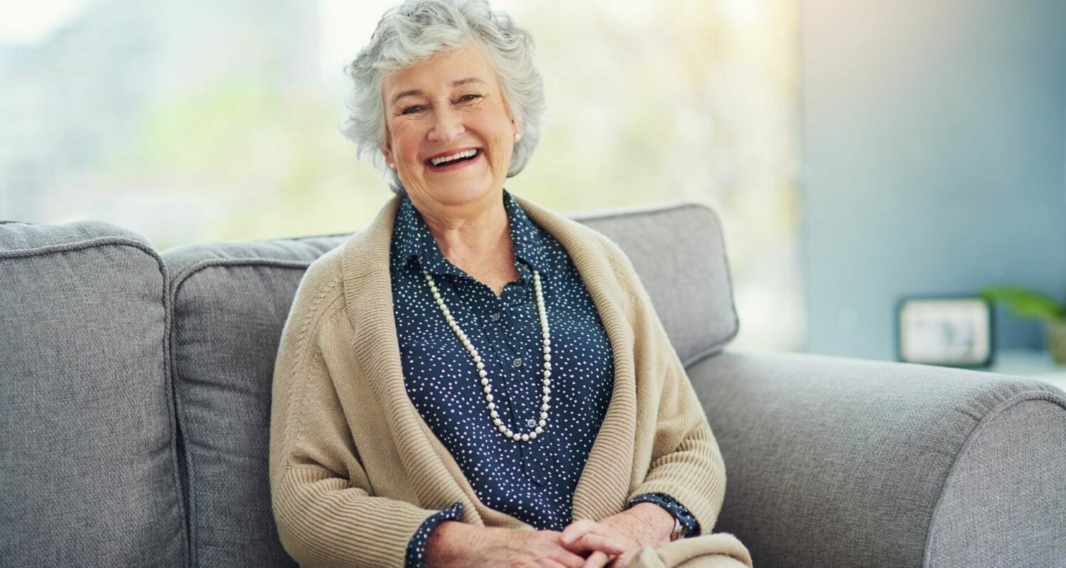 Senior woman content with retirement living